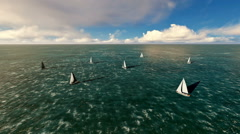 Yachts navigating at sea on a beautiful day Stock Footage