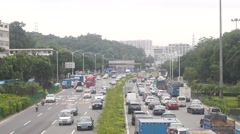 Shenzhen State Road 107 Baoan road traffic landscape Stock Footage