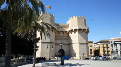 Serranos towers, old city, Valencia Stock Footage