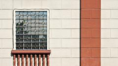 Cream Wall With Window, Balustrade and Column Background Stock Photos