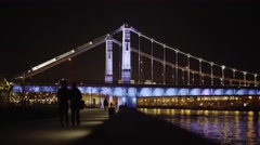 MOSCOW, CIRCA 2016: Highlighted Night Crimean Bridge in Moscow City Stock Footage