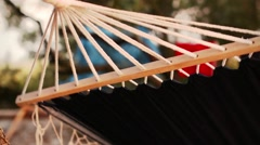 Relaxing on the Hammock on the Sea Beach. Travel Background Stock Footage