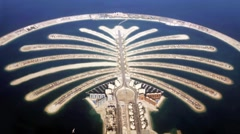 Jumeirah Palm Island  In Dubai top view Stock Footage