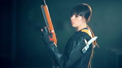 Woman training sport shooting with air rifle gun - stock footage