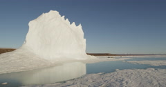 Glacier in reflection of meltwater pool on sea ice Stock Footage
