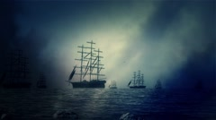 Massive Fleet of Sailing ships Leave Shore and Sailing to the Sea in Storm Stock Footage