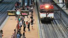 Train in Atocha station, Madrid Stock Footage