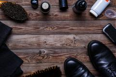 Brushes, wax, shoes, accessories - stock photo