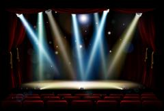 Spot Lights Theatre Stage - stock illustration