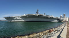US Navy Aircraft Carrier USS Midway Time Lapse Stock Footage