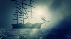Massive Sailing ship Sailing to Shore Stock Footage