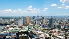 Sunny Aerial City View Panorama Stock Photos