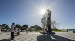 Unconditional Surrender Statue Time Lapse in Downtown San Diego Stock Footage