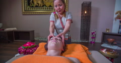 Massage of the forehead - stock footage