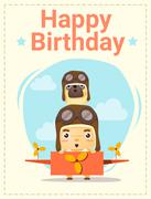Happy birthday card with little boy and friend Stock Illustration