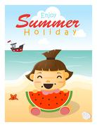 Enjoy tropical summer holiday with little girl - stock illustration