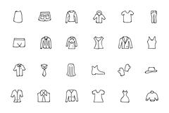 Clothes Hand Drawn Doodle Icons Pack Stock Illustration