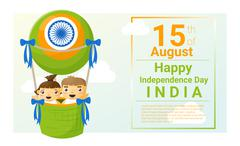 Happy independence day India 15th of August - stock illustration