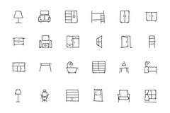 Furniture Hand Drawn Icons - stock illustration
