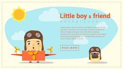 Little boy pilot and friend background - stock illustration