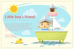 Little boy ship captain and friend background - stock illustration
