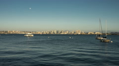 Full Moon Rising over Downtown San Diego Skyline Time Lapse Stock Footage