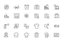 Hotel and Restaurant Hand Drawn Icons Stock Illustration