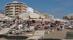 Vacation Beach In Italy With Families People Tourists On Holidays - stock footage