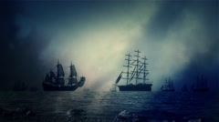 Sea Battle Between Fleet of Sailing ships Under a Lightning Storm - stock footage