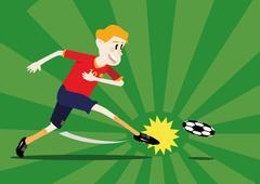 soccer player shooting a ball - stock illustration