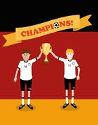 Germany national soccer players holding trophy cup - stock illustration
