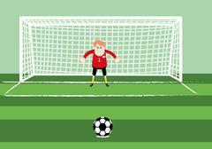 soccer goalkeeper preparing for a penalty kick on the gate - stock illustration