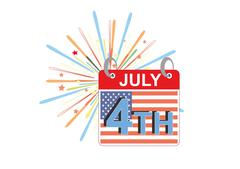 American Independence day 4th of July event banner logo background greeting card - stock illustration