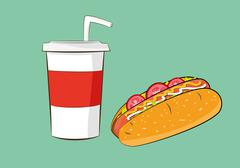 Hotdog sausage with cola drink Stock Illustration