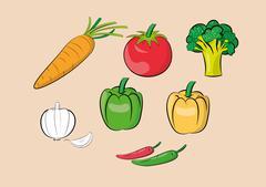 Vegetable ingredients set Stock Illustration
