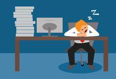 Tired lazy business man sleeping at desk Stock Illustration