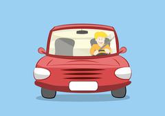 young happy man driving red car - stock illustration