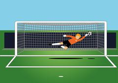 soccer goal keeper catching a ball on the field - stock illustration