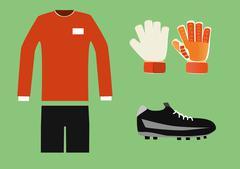 soccer goalkeeper kit vector - stock illustration