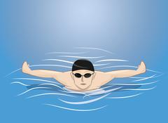 Male swimmer swimming butterfly stroke in pool Piirros