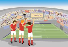 Soccer player holding a trophy and celebrating in stadium Stock Illustration
