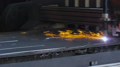 Fire gas cutting steel plate Stock Footage