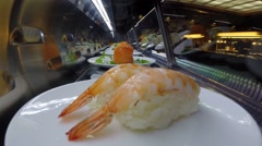sushi train from inside - stock footage
