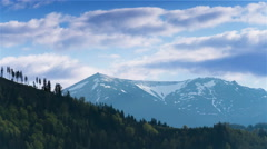 4K. Mountain landscape with snow hills, Without birds Stock Footage