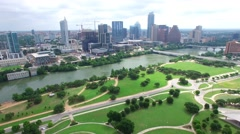 Aerial Footage - Fly Over Long Center Toward Downtown Austin - stock footage