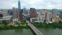 Aerial Footage - Pan across DT Austin From Congress To First St. Stock Footage