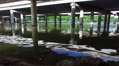 Aerial Footage - Water Ripples Under Bridge Stock Footage