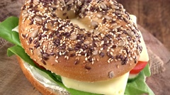 Portion of Bagel with Cheese (not loopable; 4K) Stock Footage