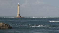 Lighthouse at Cap de La Hague, Cotentin peninsula, Lower Normandy, France Stock Footage