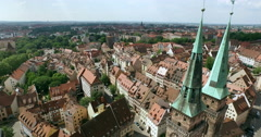 The church Sankt Sebald and the old city of Nuremberg Stock Footage